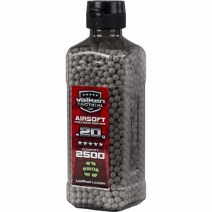 Valken Tactical 0.20g BBs, 2500 Rounds, Bottle, White, Biodegradable