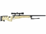 Well MB08 Bolt Action Airsoft Sniper Rifle with Scope and Bipod, Tan