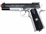 WG Full Metal US Combat 1911 CO2 Airsoft Pistol, Black/Silver