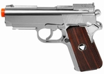 WG/TSD Metal M1911 CO2 Pistol, Chrome w/ Wood Grip