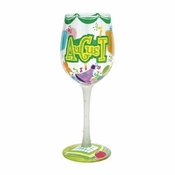 Happy August Wine Glass by Lolita�