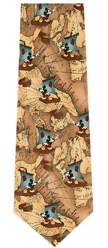 Mickey Mouse Maps Silk Necktie