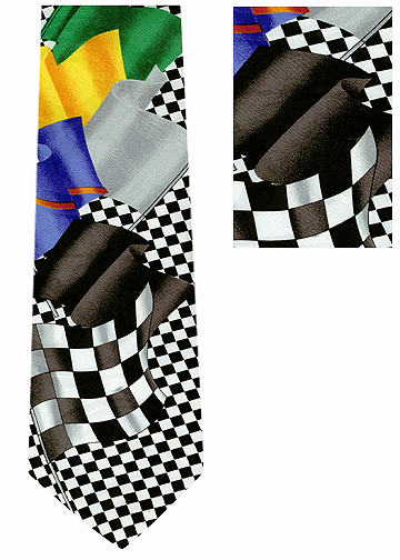 Auto Racing Flags Silk Tie