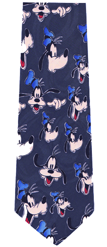 Disney Cartoon Character Goofy Repeat Silk Tie