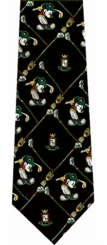 Disney Cartoon Characters Golf Theme Silk Tie