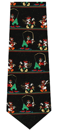 Disney Cartoon Characters Fishing Theme Silk Tie
