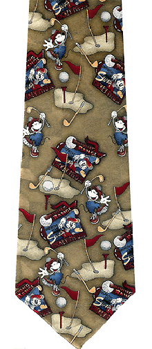 Disney Mickey Mouse Golfing Theme Silk Tie