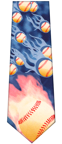 Flaming Baseball Silk Tie