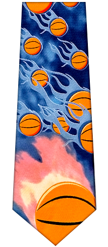 Flaming Basketball Silk Tie