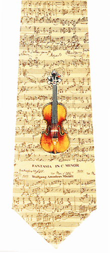 Sheet Music Acoustic Guitar Silk Necktie