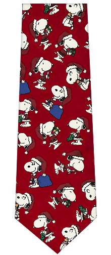 Peanuts Cartoon Characters Christmas Silk Necktie