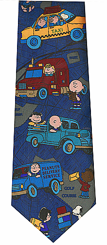 Peanuts Cartoon Driving Silk Necktie