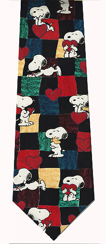 Peanuts Comics Hearts Silk Tie