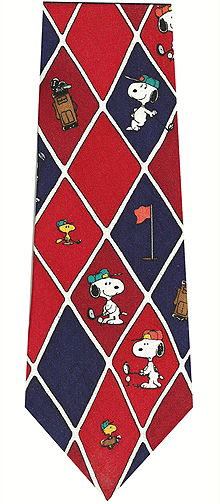 Peanuts Golf Theme Silk Tie