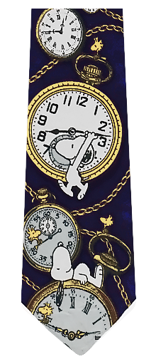 Peanuts Pocket Watch Silk Tie