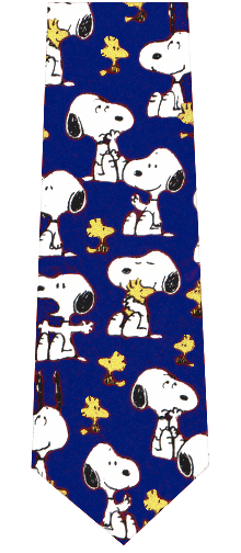 Snoopy and Woodstock Silk Necktie