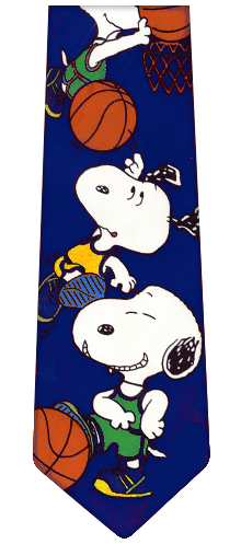 Snoopy Basketball Silk Tie