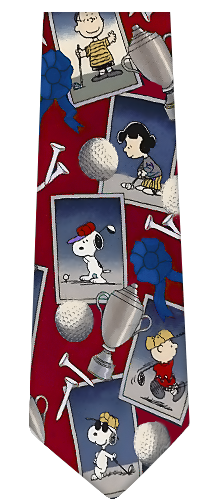 Snoopy Golf Theme Silk Necktie