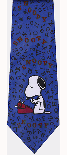 Snoopy Typewriter Blue Silk Tie