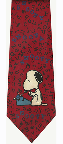 Snoopy Typewriter Red Silk Tie
