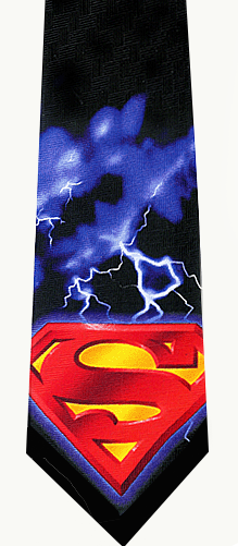 Superman Lightning Shield Silk Tie