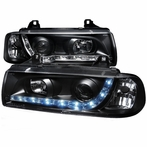 1PC Black R8 Projector Headlights