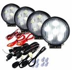 2 Pairs of Round 4.5inch 6 LED Work Fog Lights - Black Housing w/wire