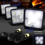 2 Pairs of Universal 5 LED Work Fog Lamps + Wiring