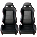 2 X Pvc Leather Racing Seats (Black with Red Stitching)