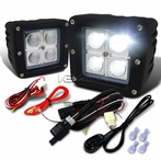 2PC 4-LED Cube Flood Beam Off-Road Fog Lights + Wiring Harness Switch Kit