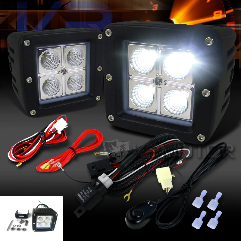 universal 2pc 4 led cube off road fog lights wiring harness click to enlarge