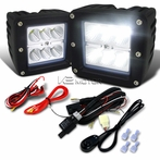 2PC 6-LED Cube Flood Beam Off-Road Fog Lights + Wiring Harness Switch Kit