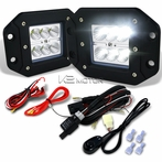 2PC Universal 6-LED Cube Flood Beam Work Fog Lamps + Wiring Harness