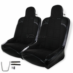 2X Black Bucket Racing Seat + Sliders (Pair)