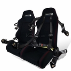 2X JDM T-R Style Racing Seats + 4 Point Seat Belt Harness