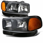 4PC Black Headlights + Bumper Lights