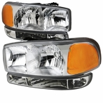 4PC Chrome Headlights + Bumper Lights