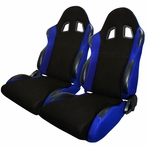 A Pair Of Bride Style Reclinable Racing Seats Sliders (Black/Blue)