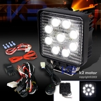 Universal Square 6 LED Work Fog Lights + Wiring