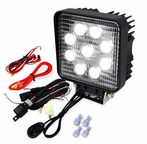 Universal Square 9 LED Work Fog Lights + Wiring