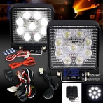 Pair of Square 6 LED Work Fog Lights + Wiring