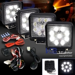 2 Pairs of Square 6 LED Work Fog Lights + Wiring