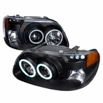 Black CCFL Halo LED Projector Headlights