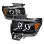 Black CCFL Halo Projector Headlights