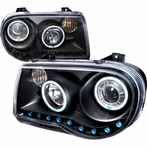 Black CCFL Halo R8 Style LED Projector Headlights