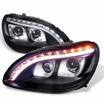 Black DRL LED Projector Headlights