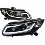 Black DRL Rope LED Projector Headlights