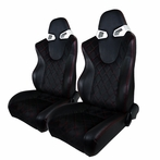 Black GT JDM Leather, Suede Racing Seats with Slider