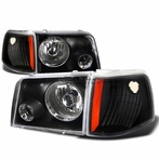 Black Headlights + Projector Fog Lights + Corner Lights
