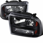 Black Headlights with Amber Reflector